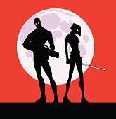A silhouette illustration of a couple of mercenary soldiers. The Gun totting male and the sword wielding female. Moon on the background. Easy to grab and edit.