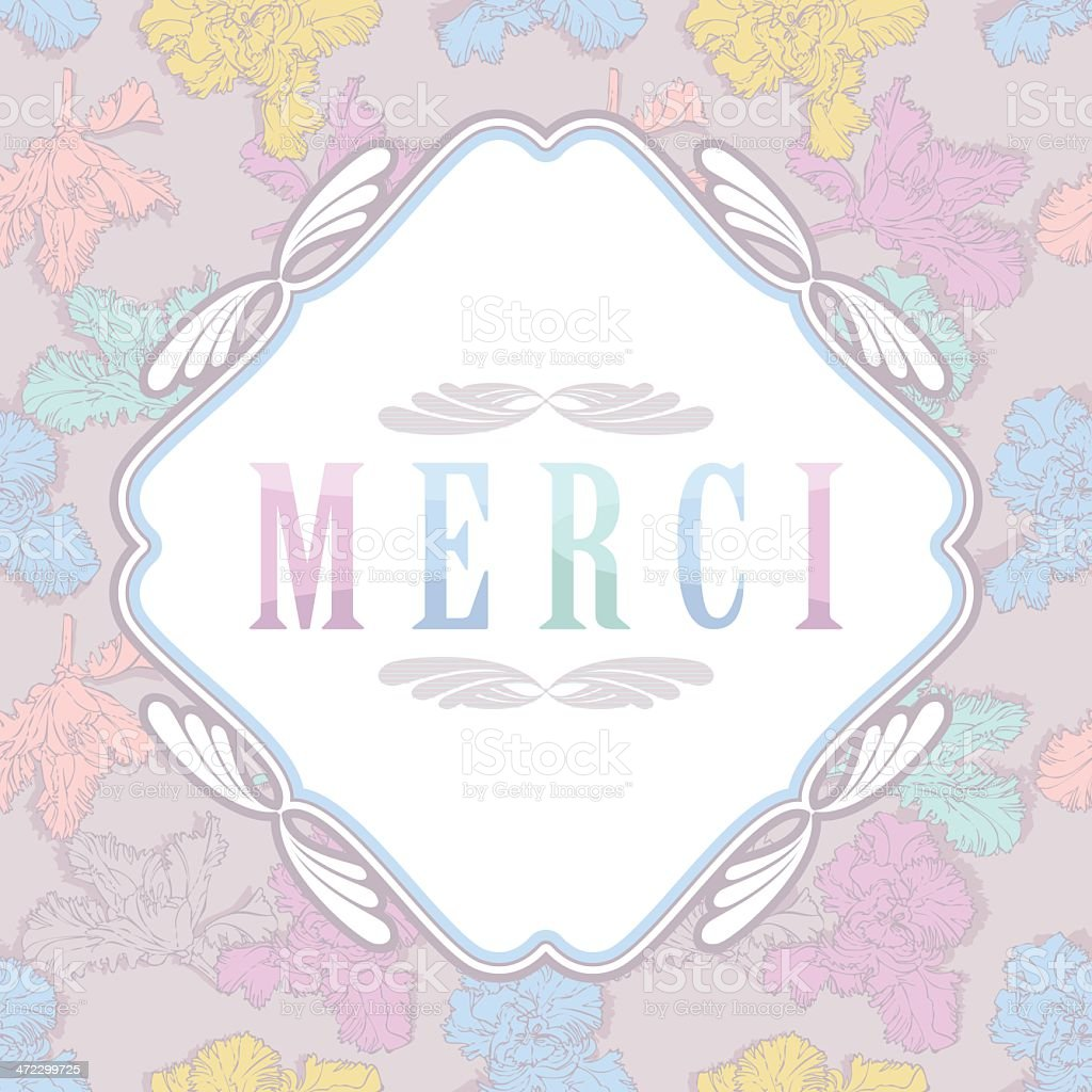 Merci - Floral Greeting Card royalty-free stock vector art