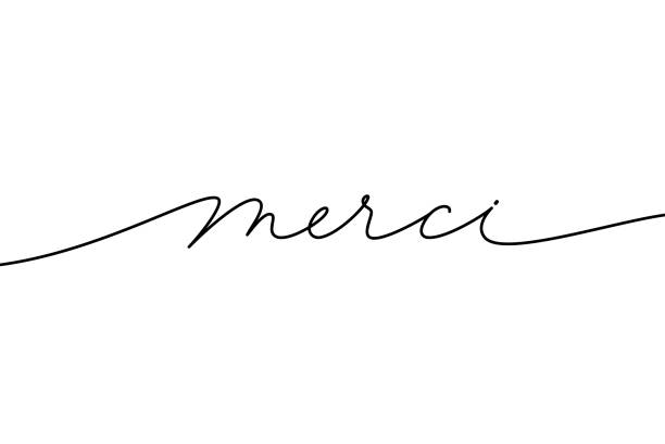Merci hand drawn modern calligraphy phrase. Thank you in French language. Merci hand drawn modern calligraphy phrase. Thank you in French language. Ink illustration of modern brush calligraphy isolated on white background. Can be used on greeting cards, poster, banners etc. paris black and white stock illustrations
