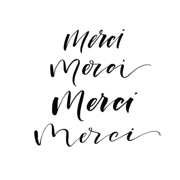 Merci lettering. Merci card. Thank you in French. Set of merci phrases. Ink illustration. Modern brush calligraphy. Isolated on white background. french language stock illustrations