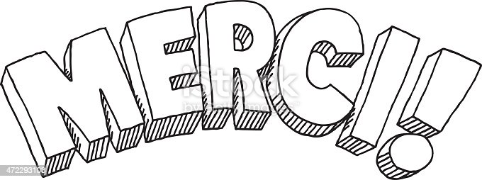 Merci Text Drawing Stock Vector Art & More Images of Black