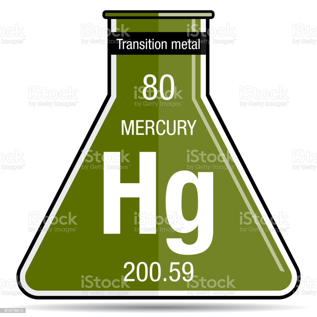 Mercury Symbol On Chemical Flask Element Number 80 Of The Periodic