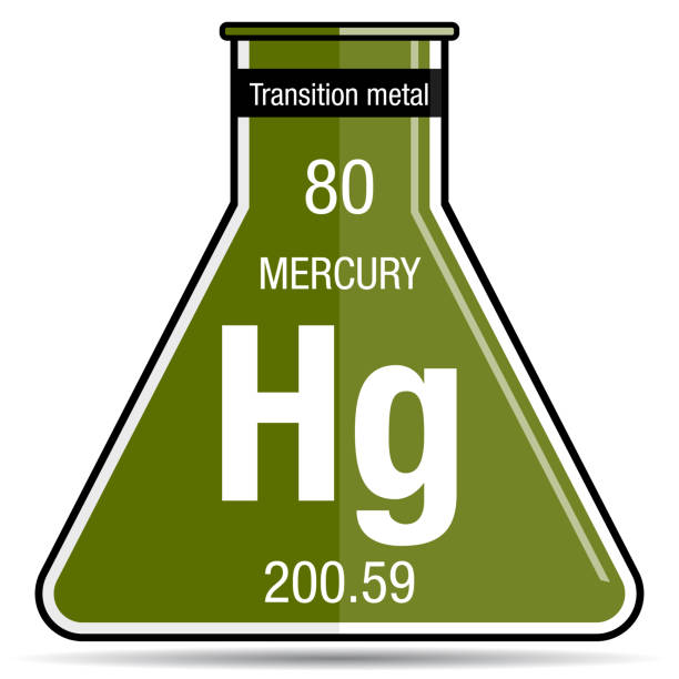 Periodic table mercury symbol image collections periodic table royalty free laboratory flask and many bubbles with chemical mercury symbol on chemical flask element number urtaz Gallery