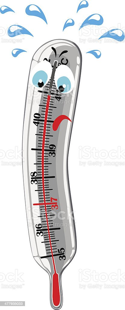 Mercury thermometer showing high temperature royalty-free stock vector art