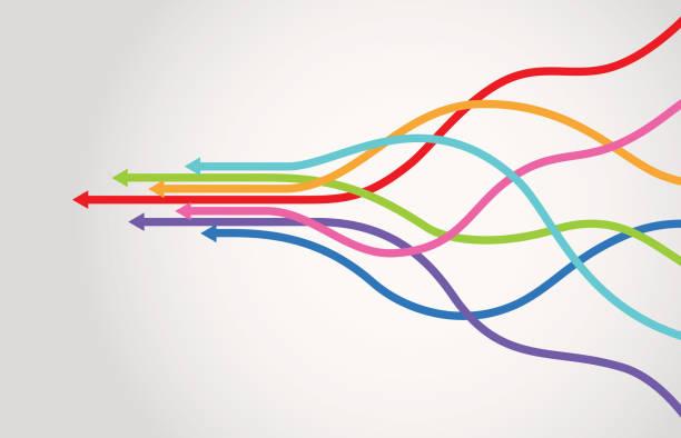 ilustrações de stock, clip art, desenhos animados e ícones de merge arrows infographic - together