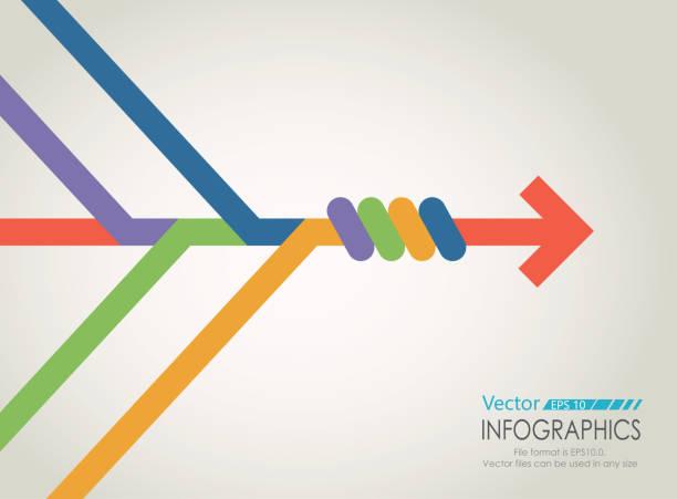ilustraciones, imágenes clip art, dibujos animados e iconos de stock de gráfico de combinar flechas - together