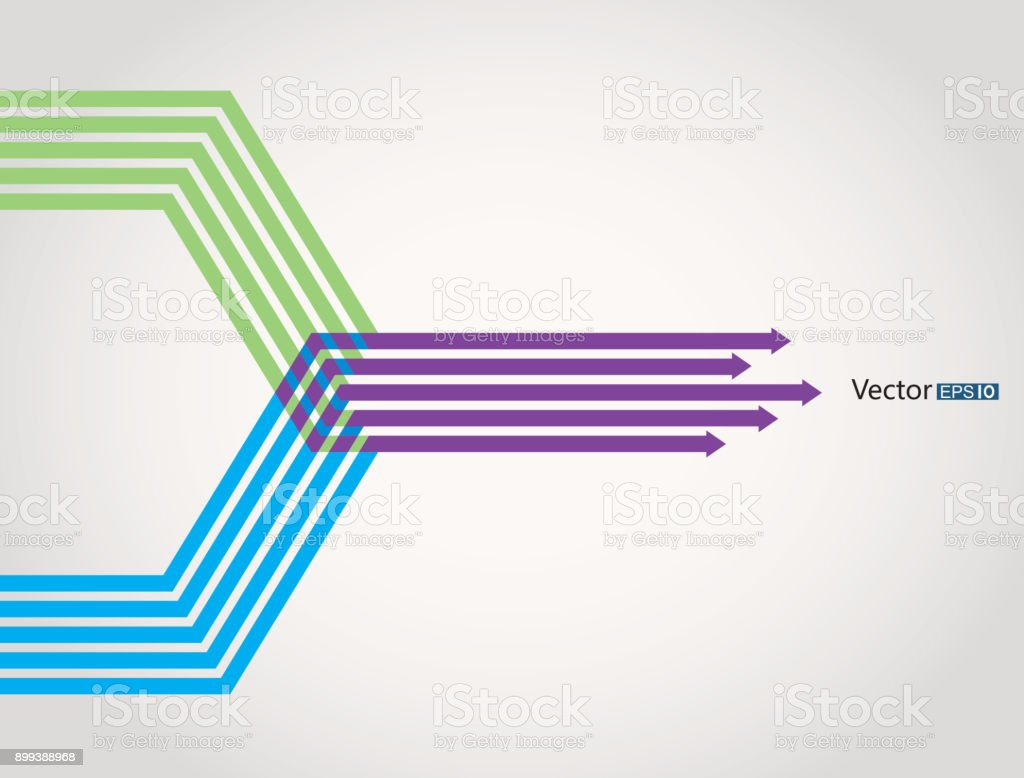 Merge arrows infographic vector art illustration