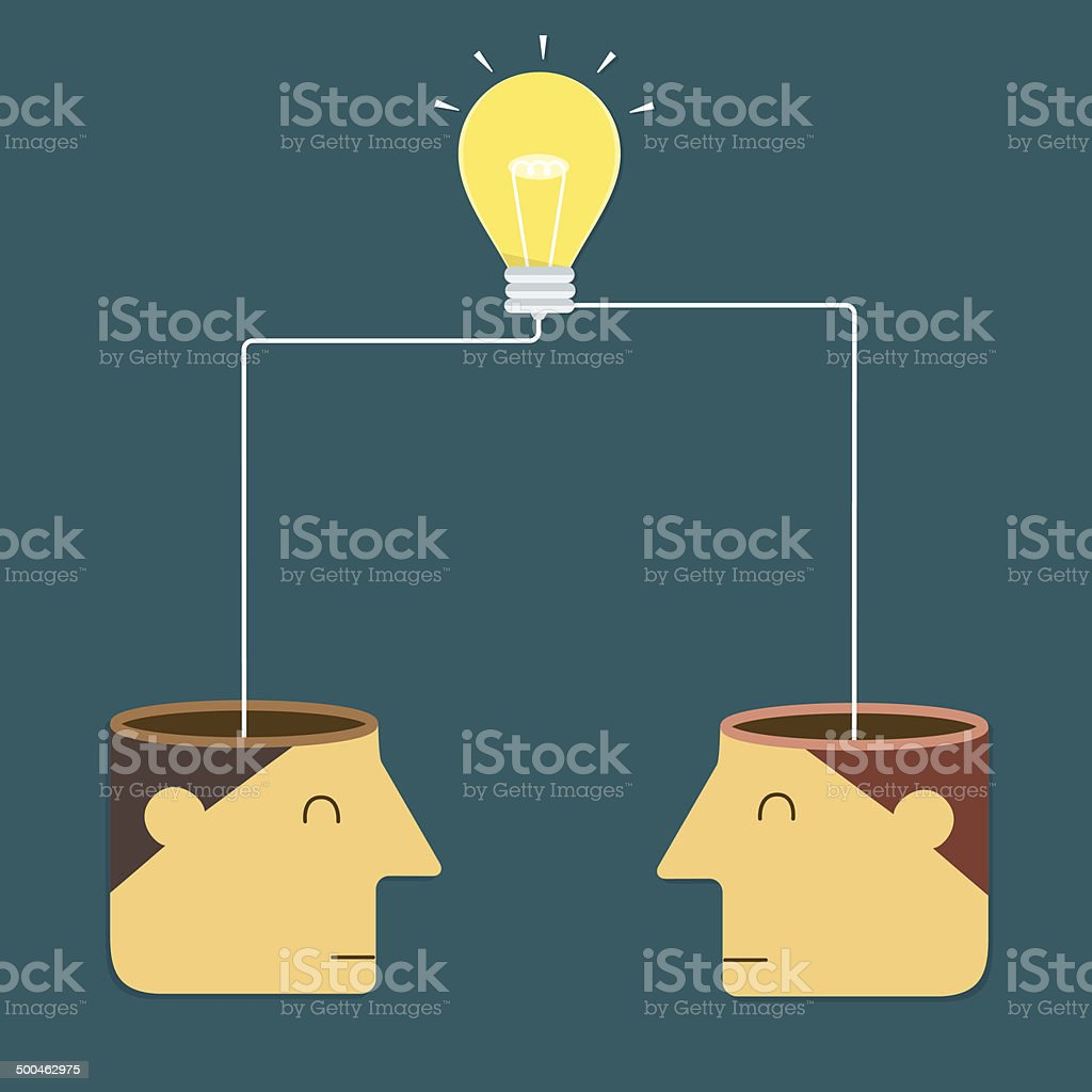 Merge ideas to success vector art illustration