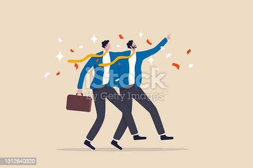 istock Merger and acquisition, company join force or partnership working together for new opportunity and successful concept, businessmen merging together celebrating and ambitious for bright future. 1312640320