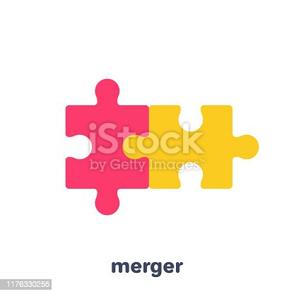 flat vector image on a white background, business icon, two pieces of a puzzle merged, merging in a business