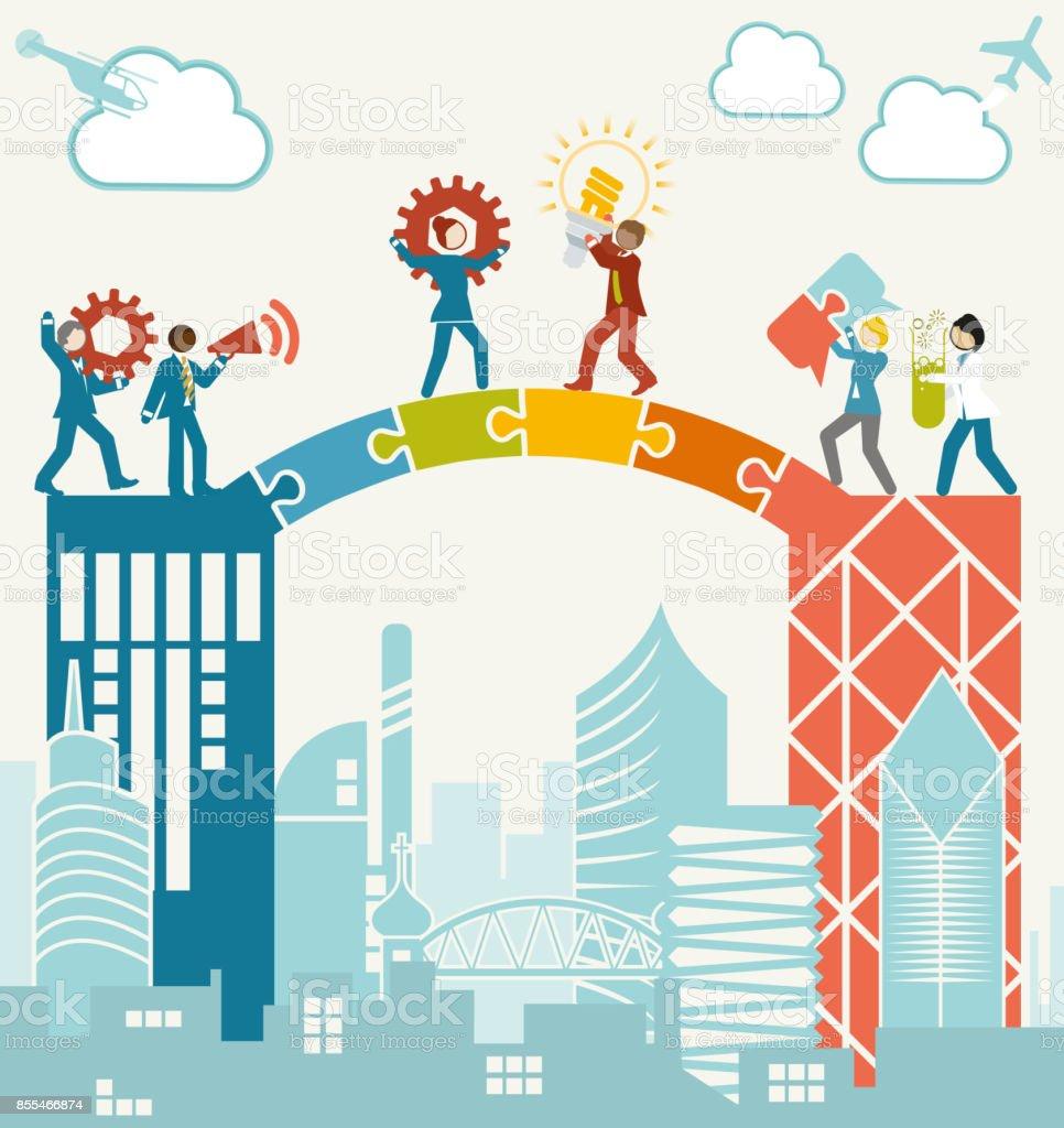 Merging Business Team vector art illustration