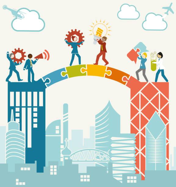비즈니스 팀을 병합 - bridge stock illustrations