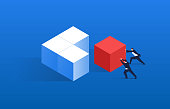 istock Merging, two merchants push the red squares and other squares together 1140703102