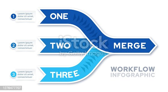 Three things merging into one infographic template design.