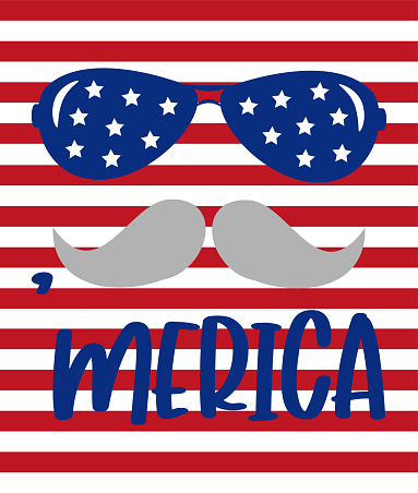 'Merica-  Happy Independence Day, lettering design illustration.