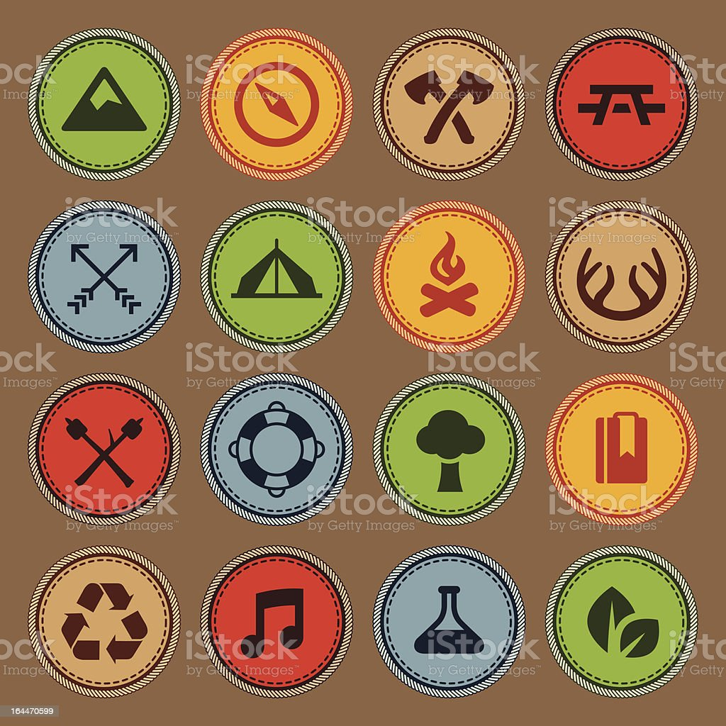 Merit badges vector art illustration