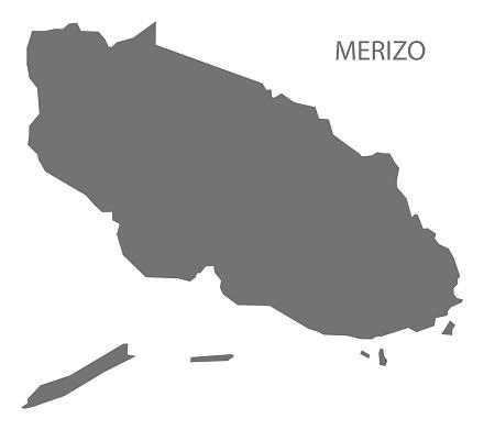 Merizo Guam map grey illustration silhouette