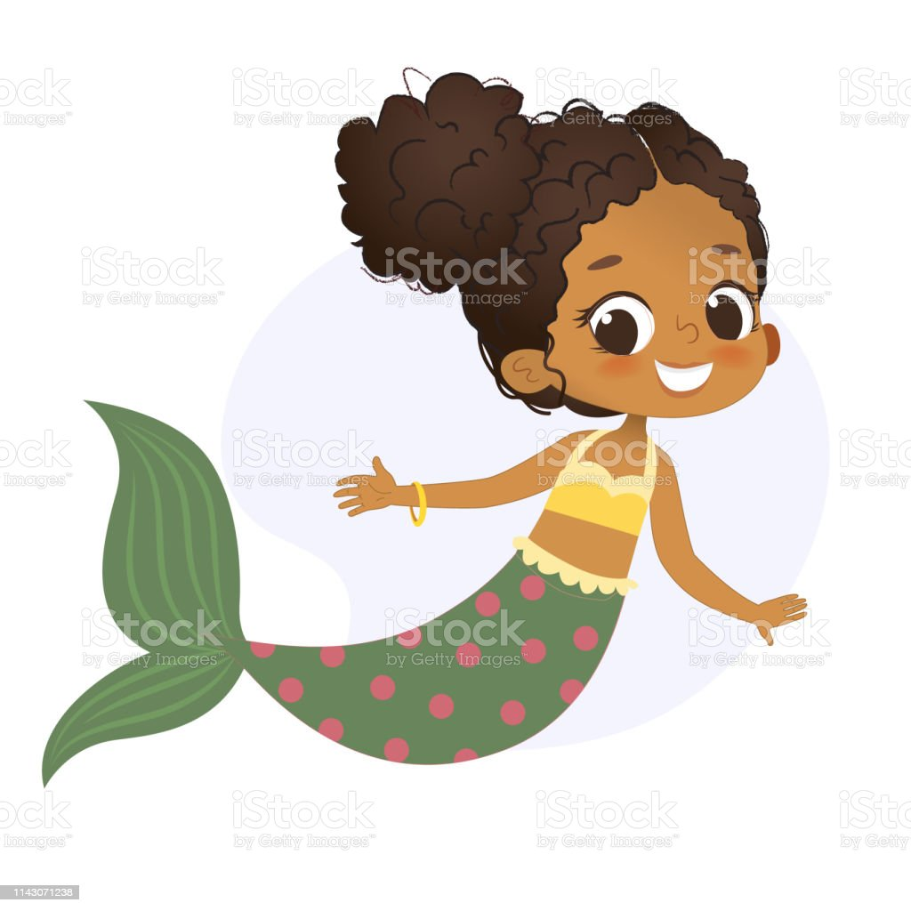 Mermaid Afro Character Mythical Girl Little Nymph vector art illustration