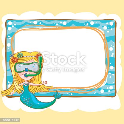 Mermaid And Diving Frame Stock Vector Art & More Images of 2015 ...