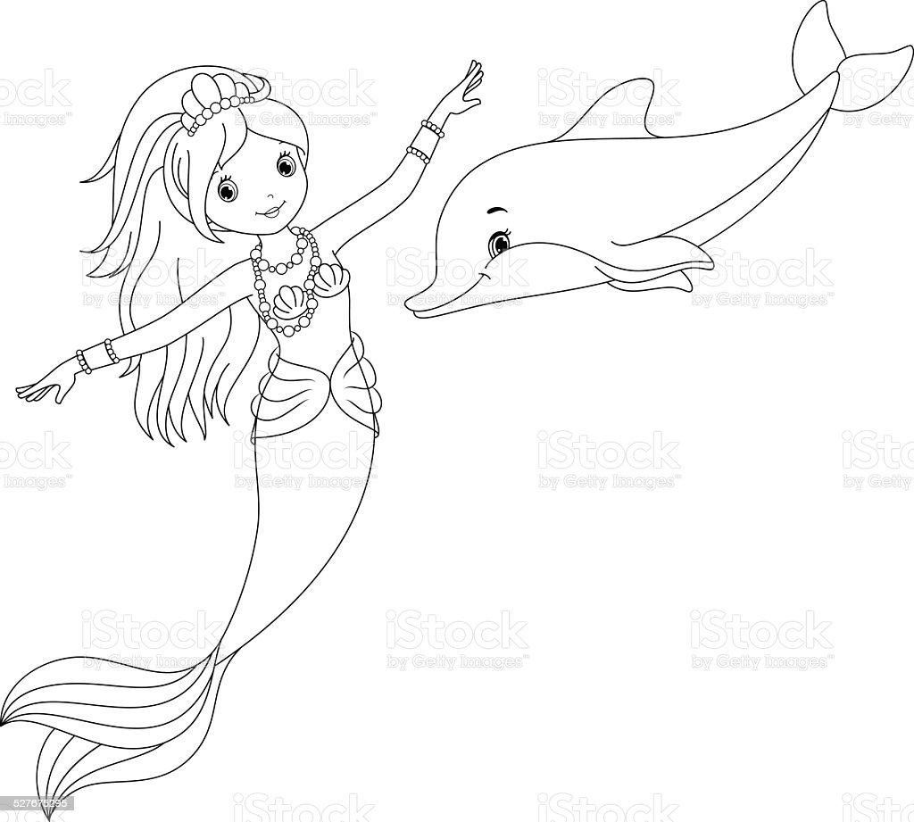 Mermaid And Dolphin Coloring Page Stock Illustration - Download