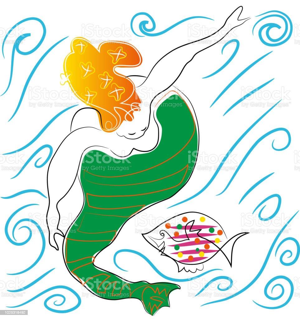 Deniz kızı ve balık. vektör sanat illüstrasyonu