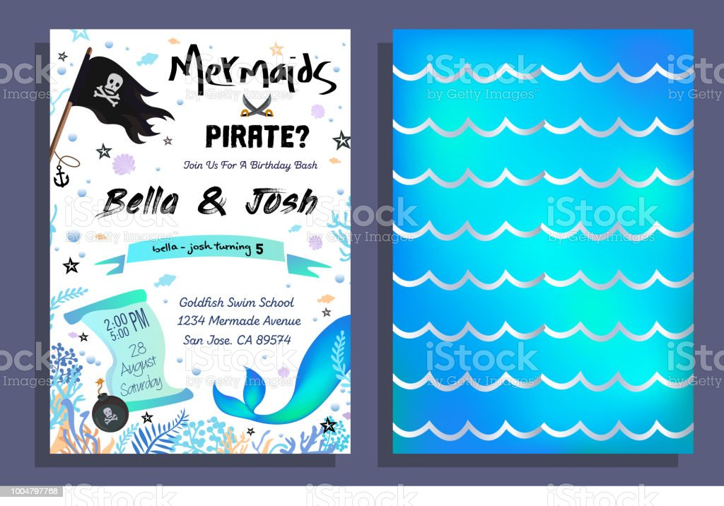 Mermaid and pirate party invitation with holographic background mermaid and pirate party invitation with holographic background mermaid tail pirate flag and doodles stopboris Image collections
