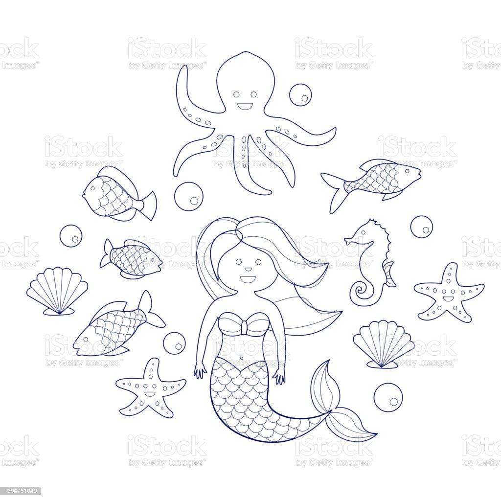 Ilustración de Animales De La Sirena Y El Mar Libro De Colorear Para ...