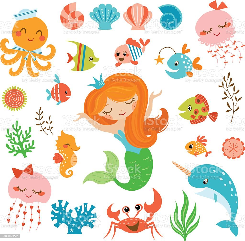 Mermaid and sea friends vector art illustration