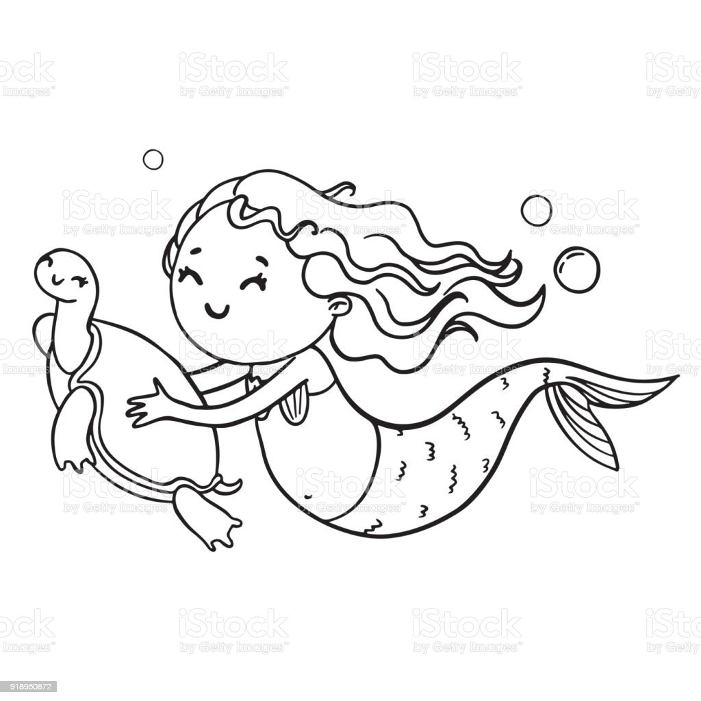 Mermaid And Turtle Contour Illustration Vector Coloring Book Page Royalty Free