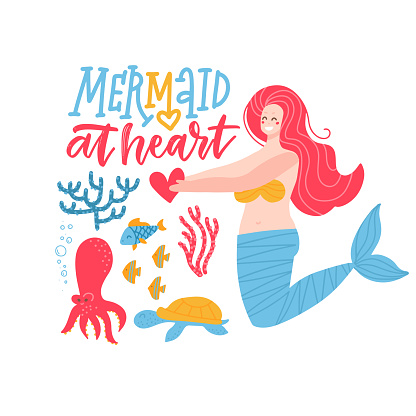 Mermaid at heart - girl t-shirt quote lettering. Calligraphy inspiration graphic design typography element with cute mermard character and sea animals. Hand written postcard. Flat vector illustration.