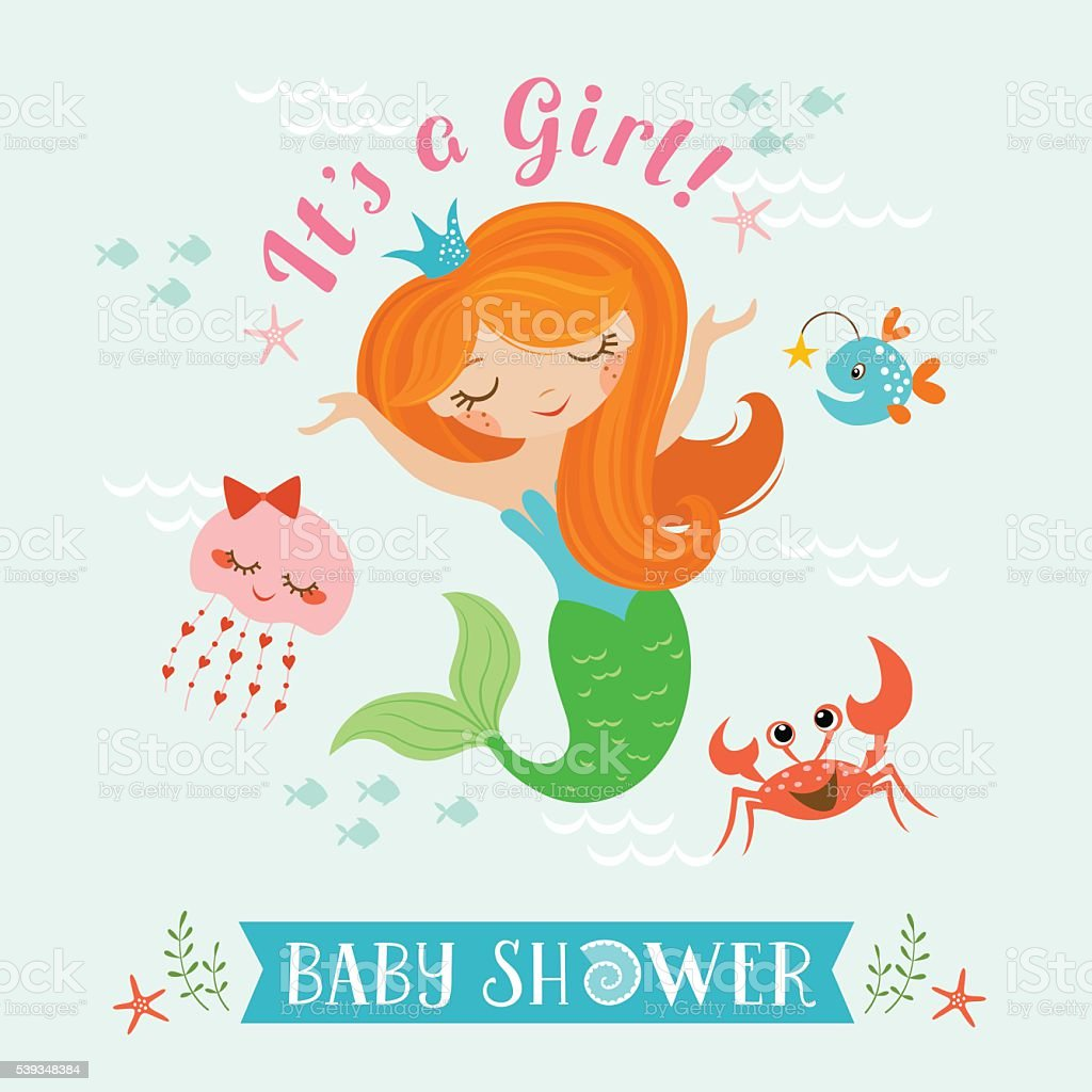 Mermaid baby shower vector art illustration