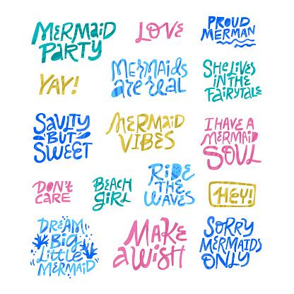 Mermaid birthday party hand drawn lettering set