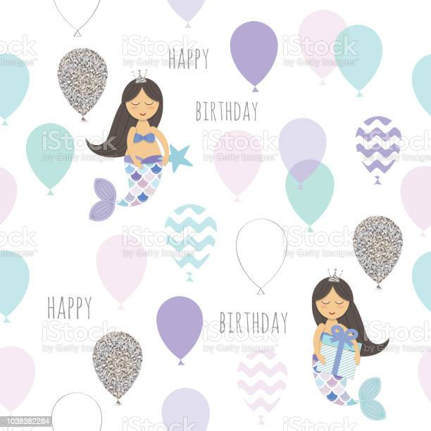 Mermaid birthday seamless pattern background cute cartoon characters vector id1038382284?b=1&k=6&m=1038382284&s=612x612&h=dqvxgbegxigz9ayu  zd0jomlvbdllqizbgnajvhp04=