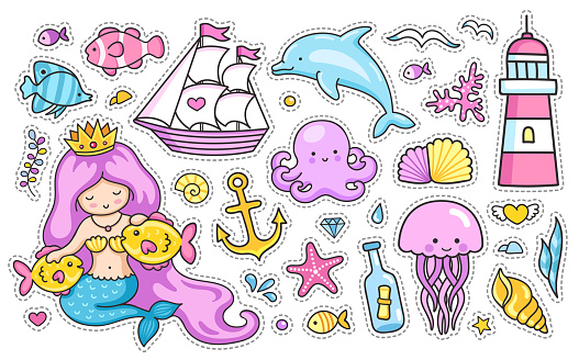 Mermaid, dolphin, sailing ship, jellyfish, octopus, fish, sea shell, lighthouse, anchor, starfish.