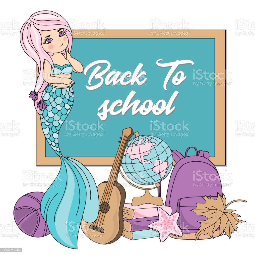 Mermaid Education Cartoon Underwater Sea Ocean Vector Illustration...