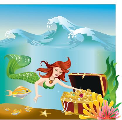 Mermaid exploring treasure under the ocean