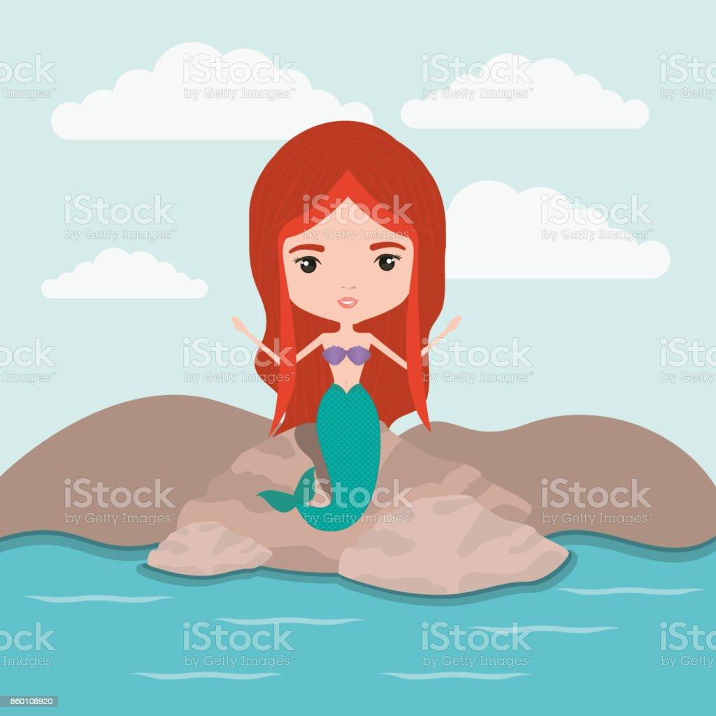 mermaid fantastic character in a rock sea landscape background vector art illustration