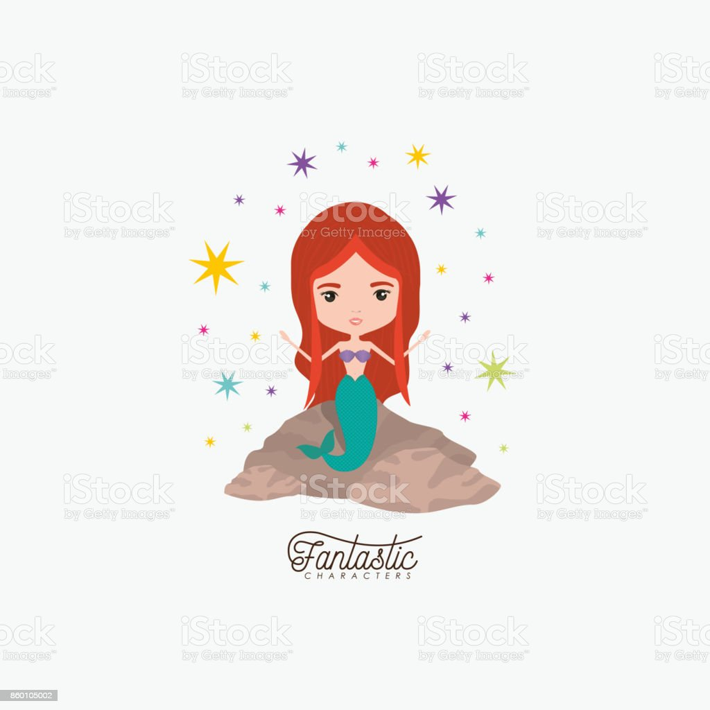 mermaid fantastic character in a rock with colorful sparks and stars on white background vector art illustration