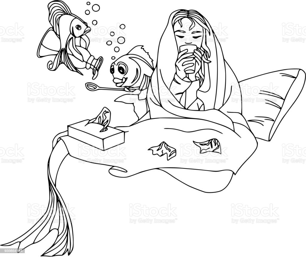 Mermaid Fell Ill, Fish Pour Cough Syrup. Cartoon Characters, Pets, Health,