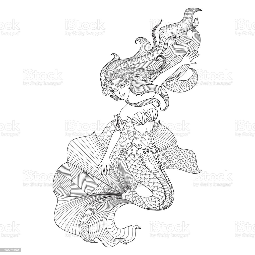 Sereia para colorir p ginas arte vetorial de acervo e - Sirena da colorare fogli da colorare ...
