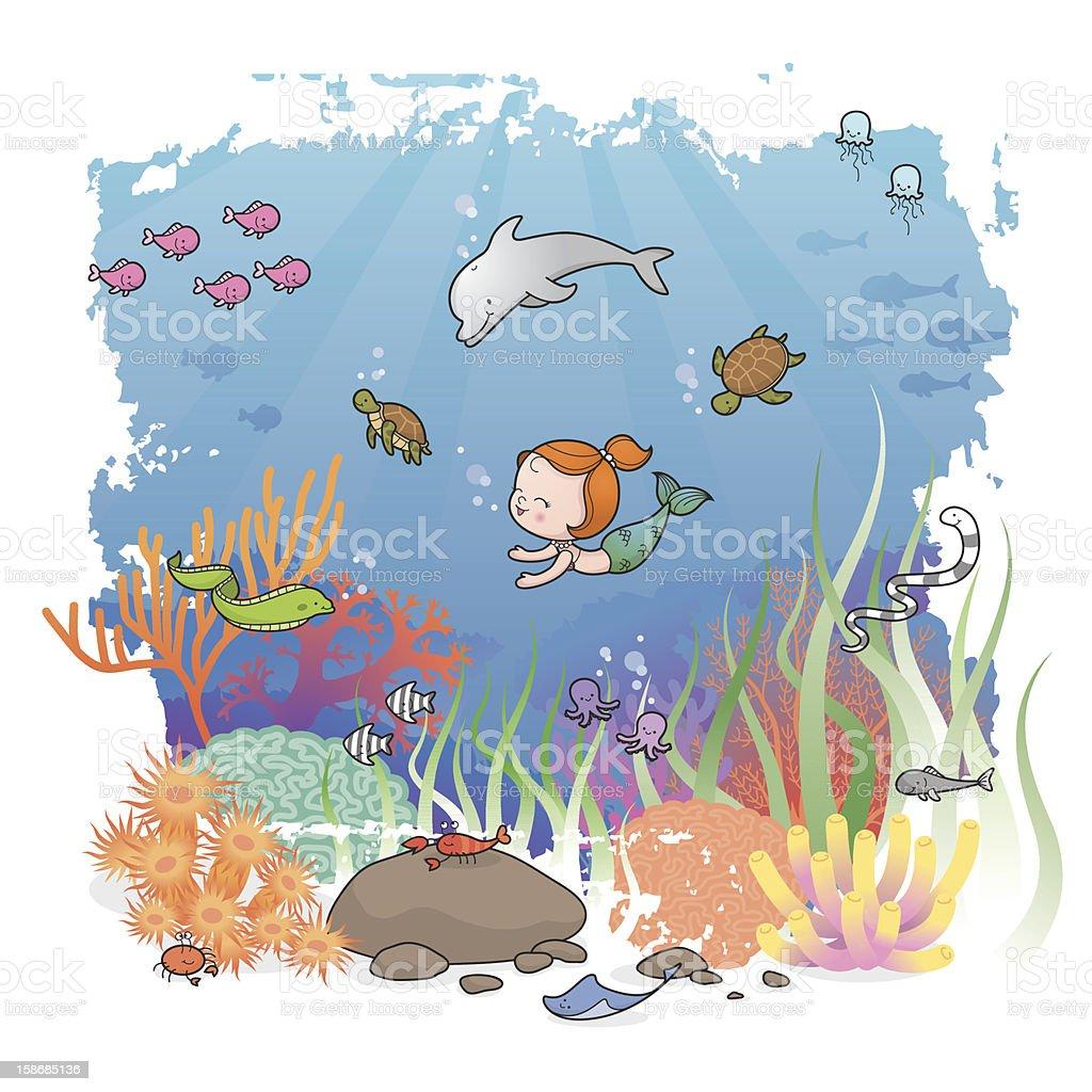 Mermaid girl and friends vector art illustration