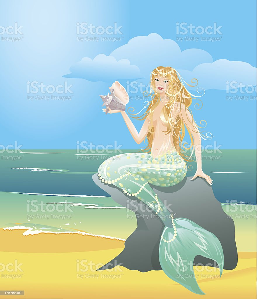 mermaid girl with sea shell sitting on the stone royalty-free stock vector art