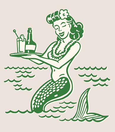Mermaid Holding Drinks on Tray