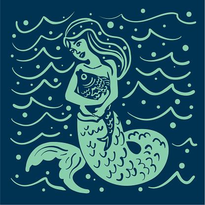 Mermaid Hugging Her Pet Fish