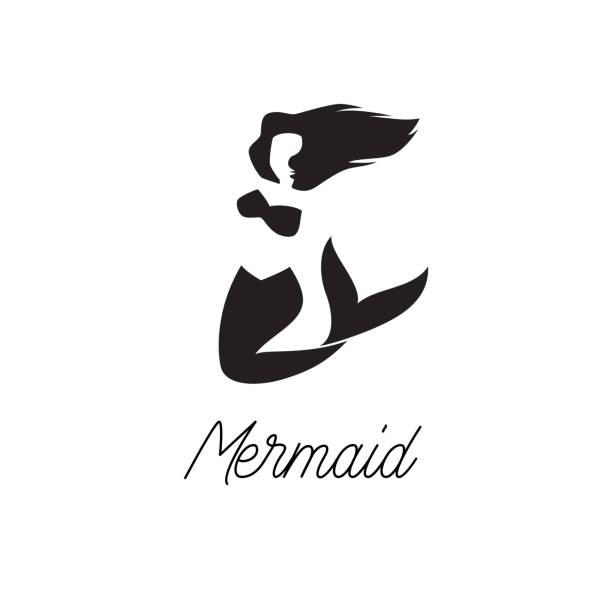 ilustraciones, imágenes clip art, dibujos animados e iconos de stock de icono de sirena aislado sobre fondo blanco - tatuajes de sirenas