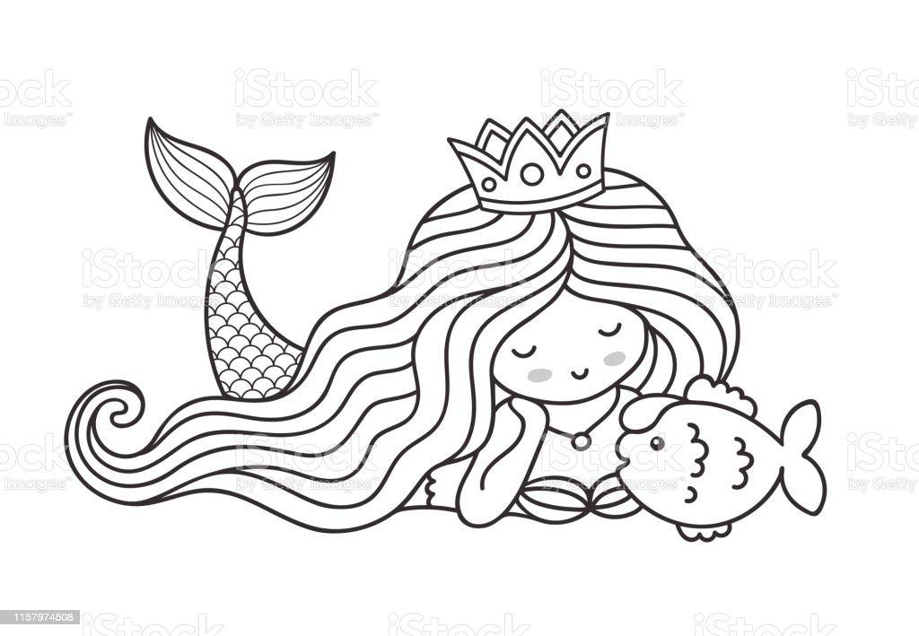 Ilustracion De Sirena Tumbada En El Fondo Marino Con Pececitos