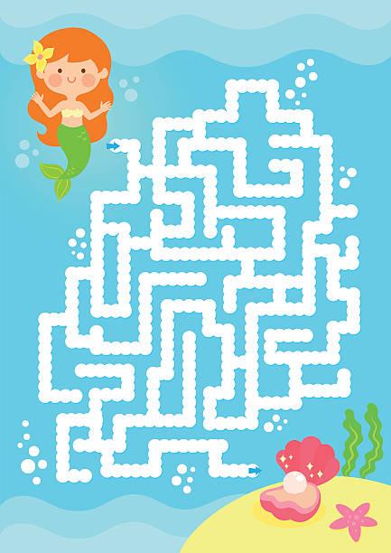 mermaid maze game vector art illustration