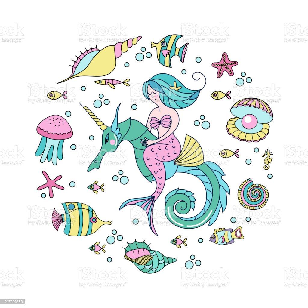 Ilustración de Sirena Criatura Mitológica Sirena Montando Un ...