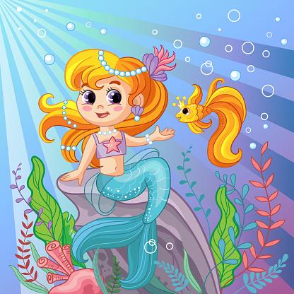 Mermaid on a rock cartoon vector illustration