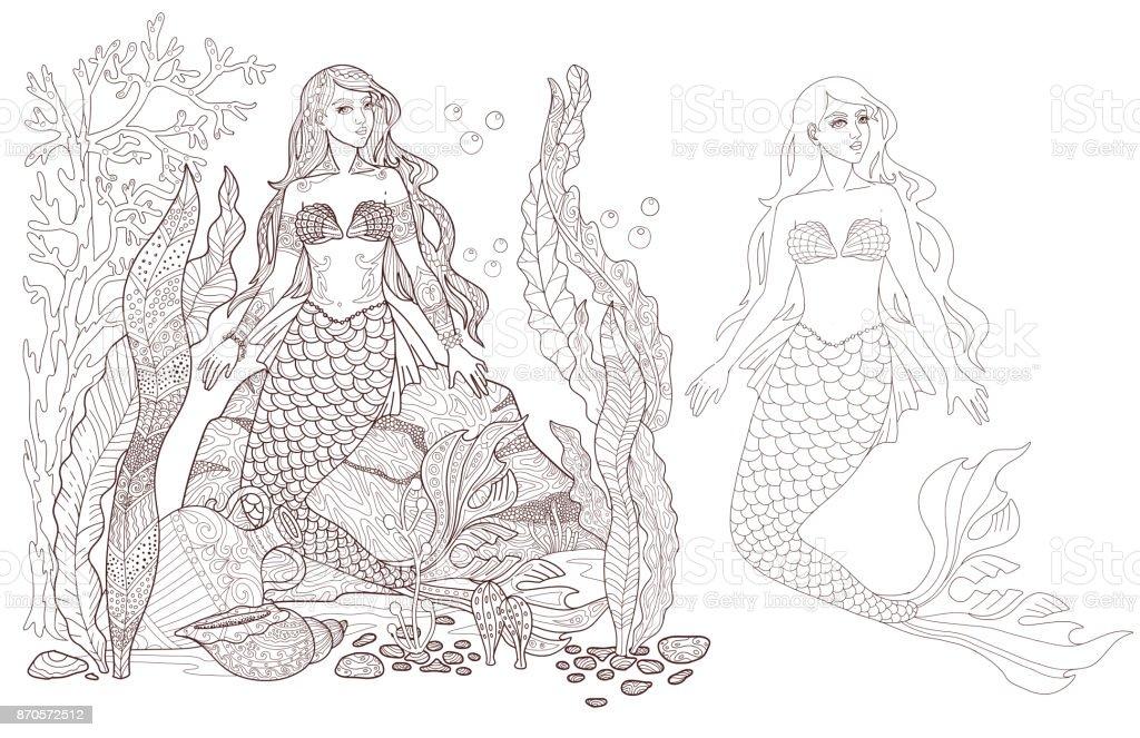 Ilustración de Sirena En La Página De Los Fondos Marinos Vector ...